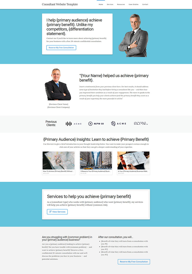 Consultant website template kit tsavo neal for Consulting website