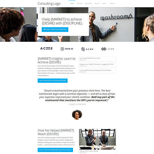 consultant website template homepage design