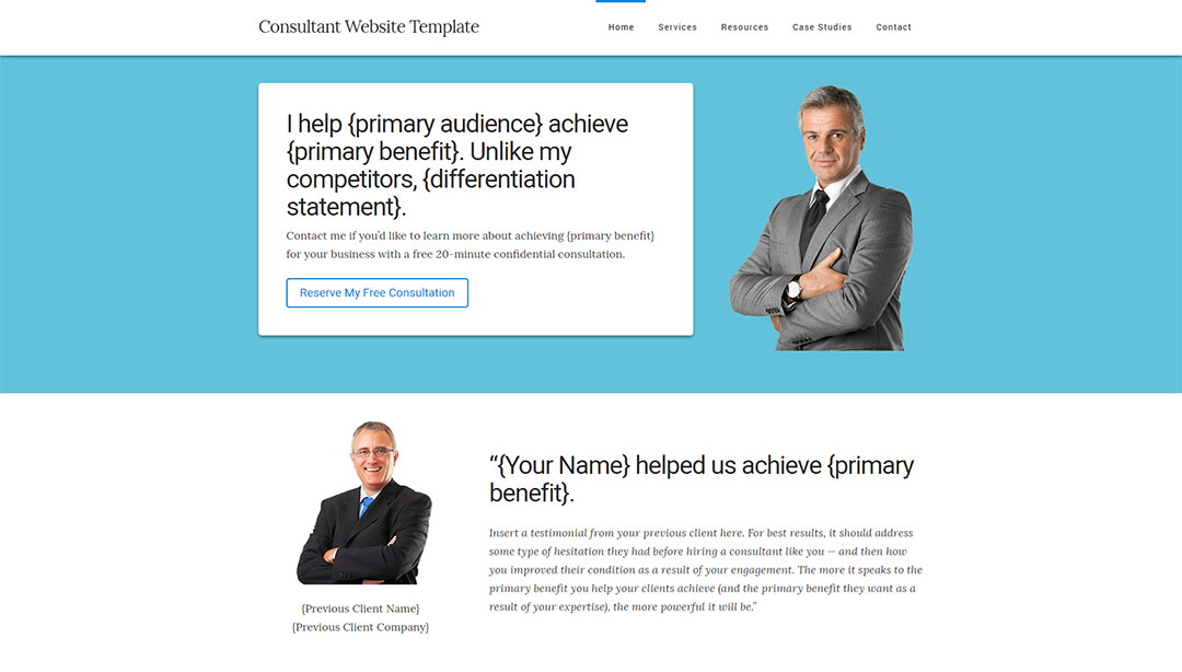 consultant website home page