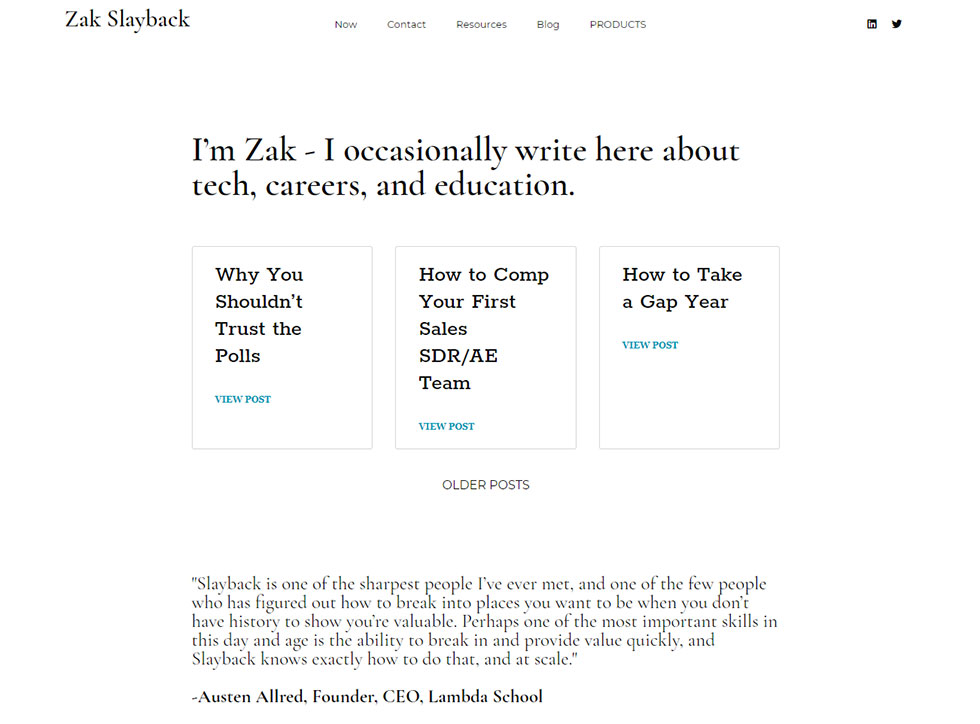 zak slaybacks' personal website