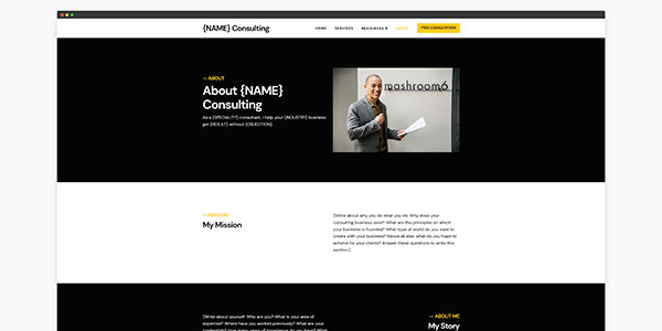 consulting website template about  page