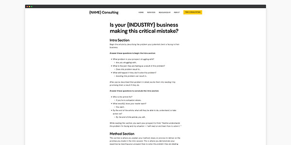 consulting website template blog