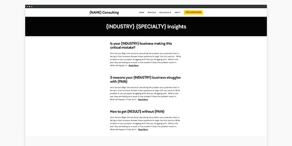 consulting website template case study