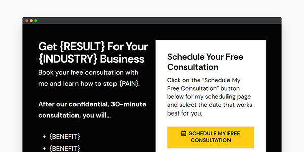 consulting website template contact page