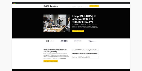consulting website template home page