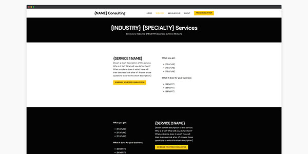 consulting website template services page