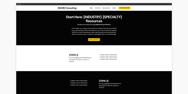 consulting website template resources page